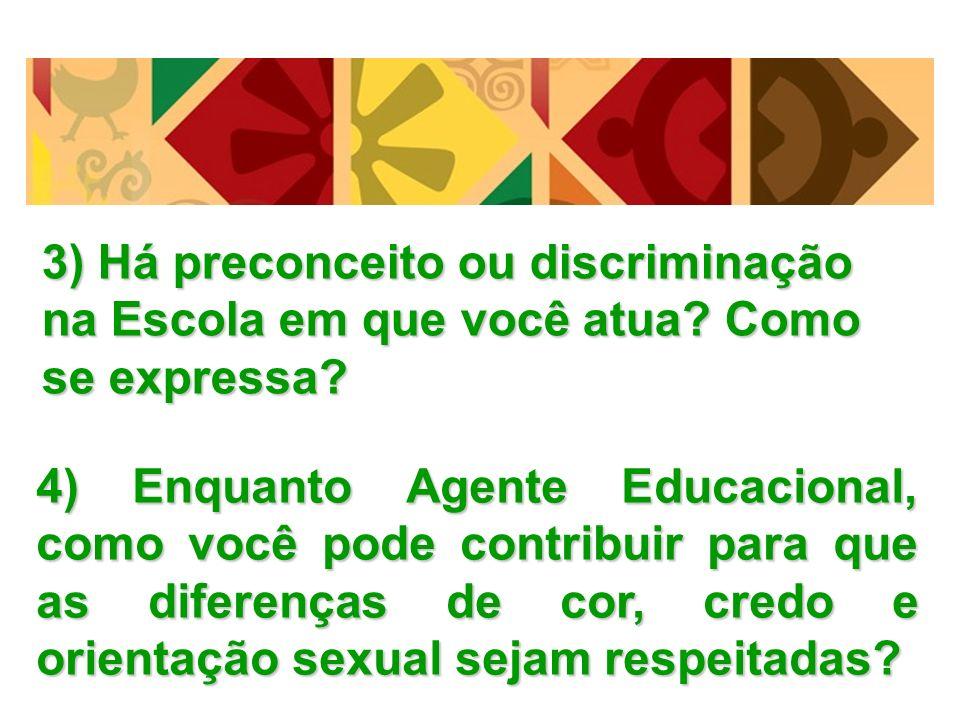 3) Há preconceito ou discriminação na Escola em que você atua