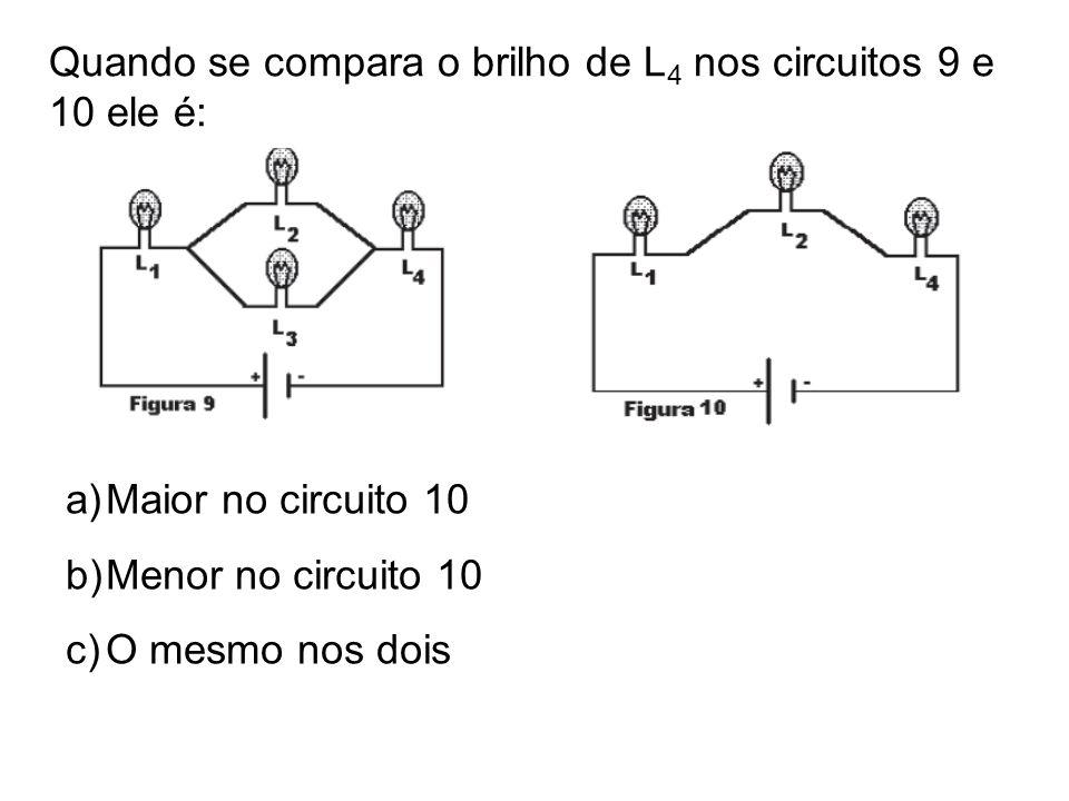 Quando se compara o brilho de L4 nos circuitos 9 e 10 ele é: