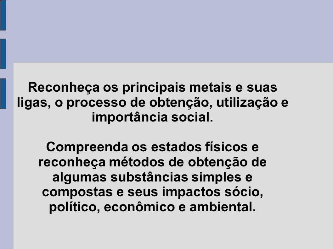 Reconheça os principais metais e suas ligas, o processo de obtenção, utilização e importância social.