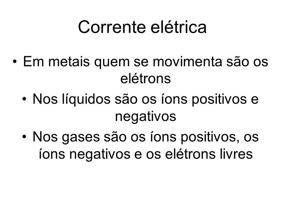 Corrente elétrica Em metais quem se movimenta são os elétrons