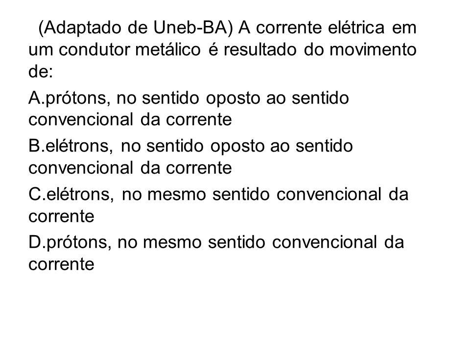 (Adaptado de Uneb-BA) A corrente elétrica em um condutor metálico é resultado do movimento de: