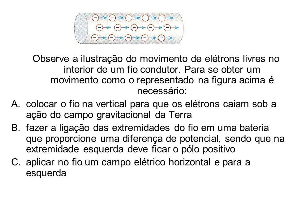 Observe a ilustração do movimento de elétrons livres no interior de um fio condutor. Para se obter um movimento como o representado na figura acima é necessário: