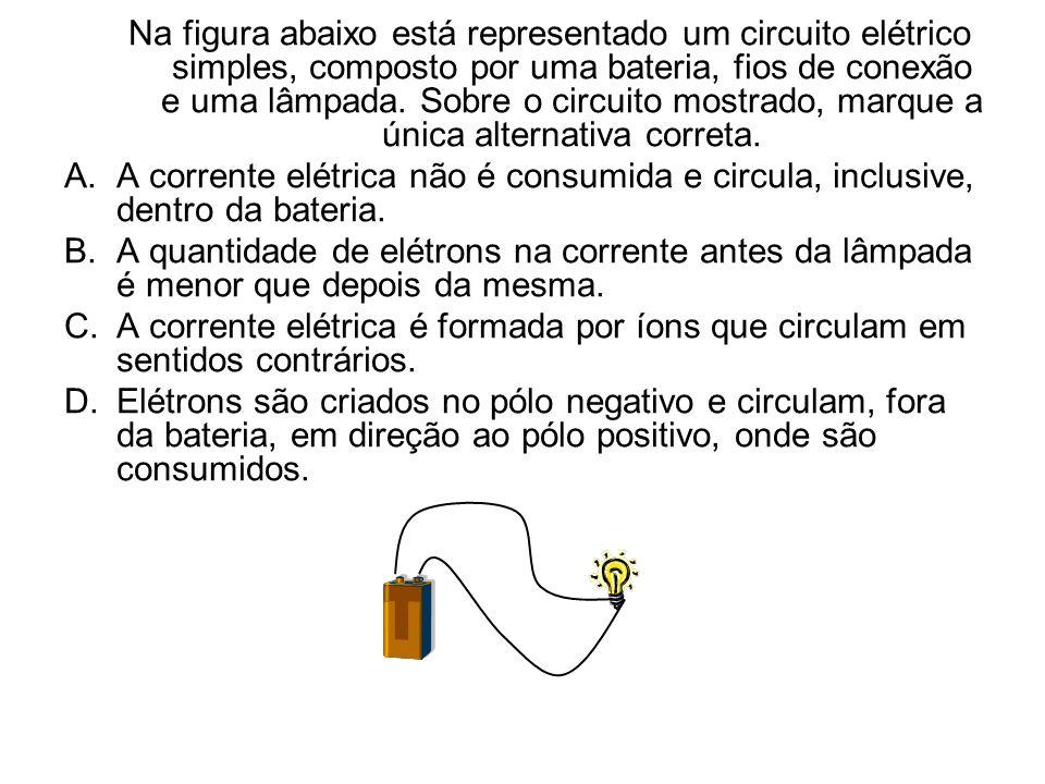 Na figura abaixo está representado um circuito elétrico simples, composto por uma bateria, fios de conexão e uma lâmpada. Sobre o circuito mostrado, marque a única alternativa correta.
