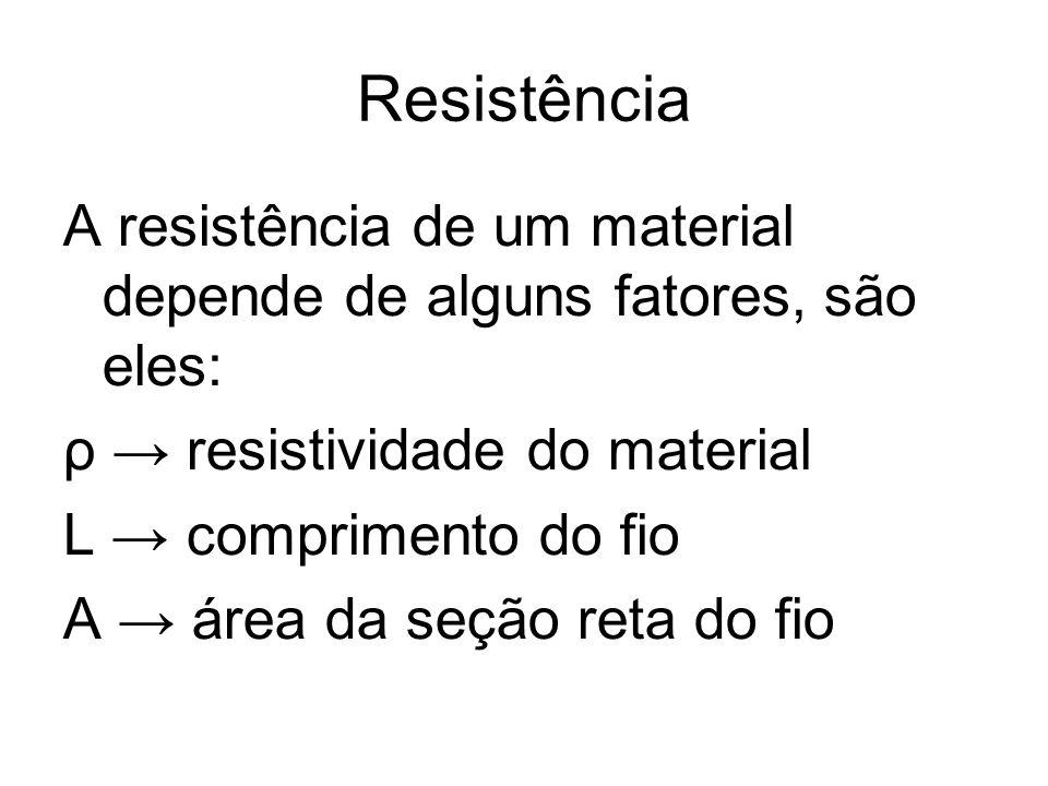 Resistência A resistência de um material depende de alguns fatores, são eles: ρ → resistividade do material.