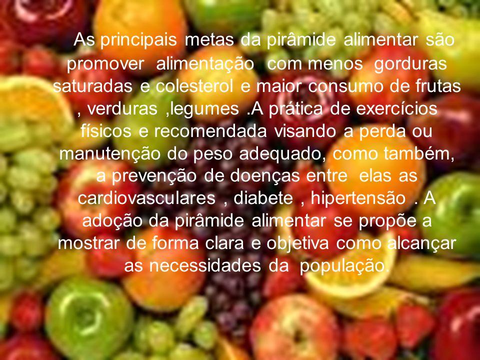 As principais metas da pirâmide alimentar são promover alimentação com menos gorduras saturadas e colesterol e maior consumo de frutas , verduras ,legumes .A prática de exercícios físicos e recomendada visando a perda ou manutenção do peso adequado, como também, a prevenção de doenças entre elas as cardiovasculares , diabete , hipertensão .