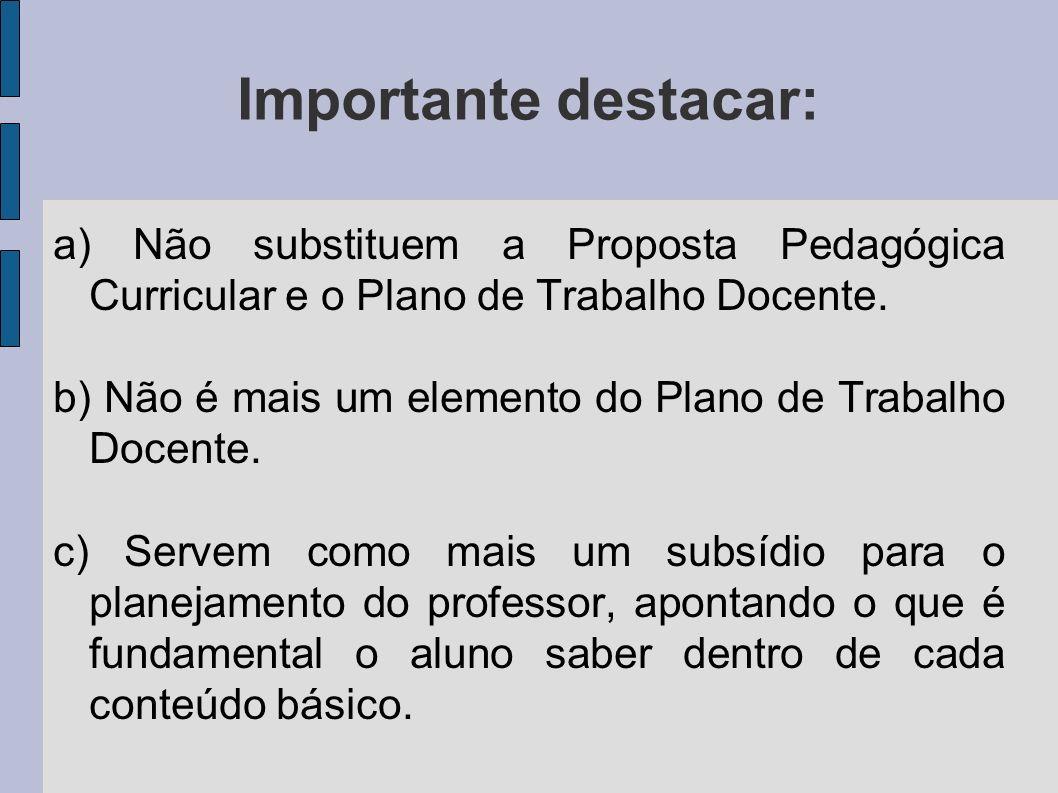 Importante destacar: a) Não substituem a Proposta Pedagógica Curricular e o Plano de Trabalho Docente.