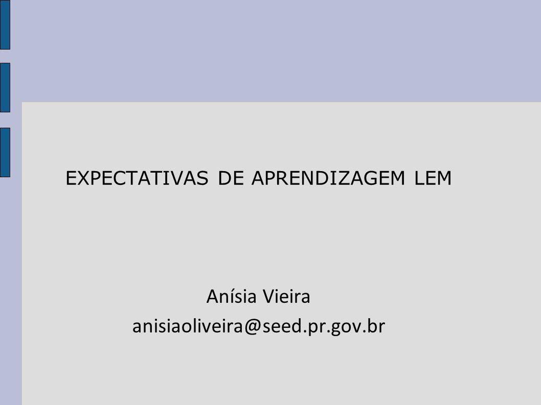 EXPECTATIVAS DE APRENDIZAGEM LEM
