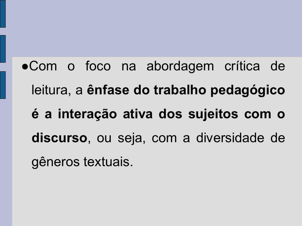 ●Com o foco na abordagem crítica de leitura, a ênfase do trabalho pedagógico é a interação ativa dos sujeitos com o discurso, ou seja, com a diversidade de gêneros textuais.