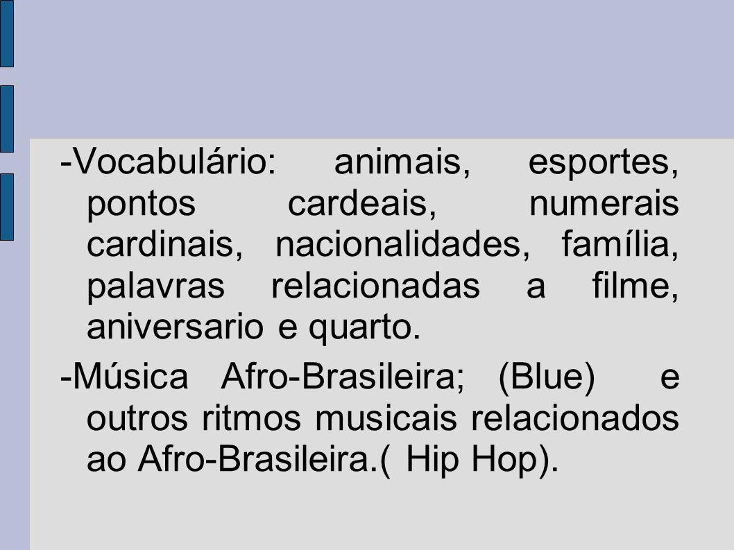 -Vocabulário: animais, esportes, pontos cardeais, numerais cardinais, nacionalidades, família, palavras relacionadas a filme, aniversario e quarto.