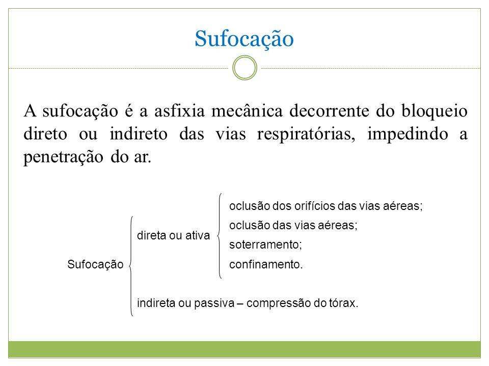 Sufocação A sufocação é a asfixia mecânica decorrente do bloqueio direto ou indireto das vias respiratórias, impedindo a penetração do ar.