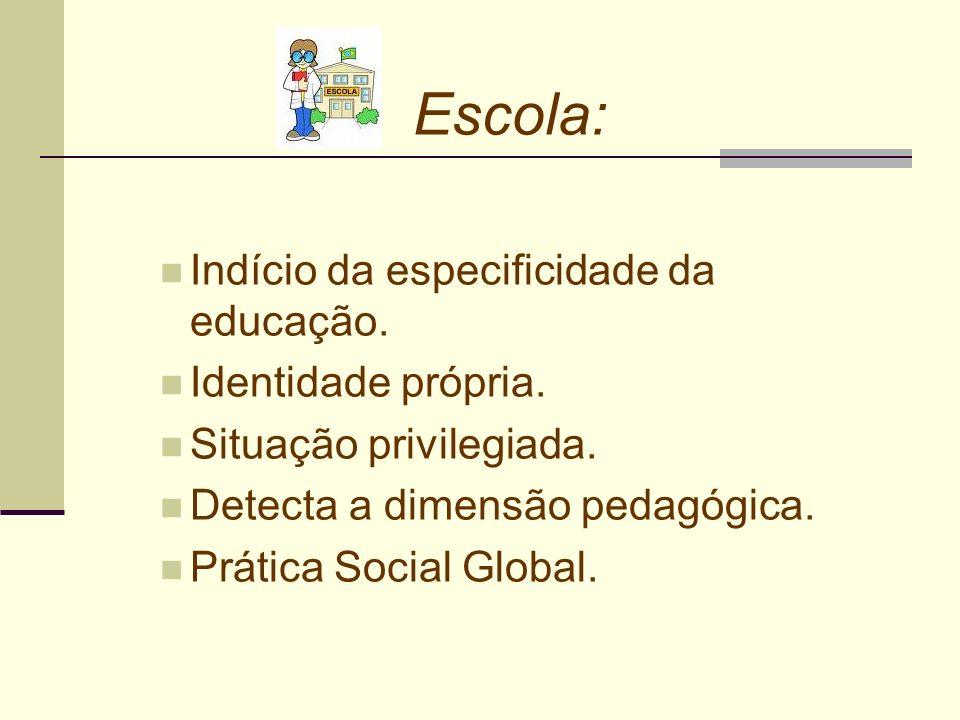 Escola: Indício da especificidade da educação. Identidade própria.