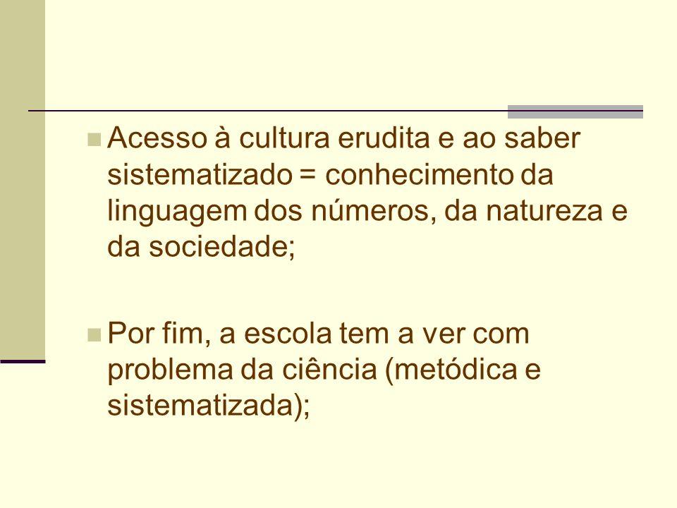 Acesso à cultura erudita e ao saber sistematizado = conhecimento da linguagem dos números, da natureza e da sociedade;