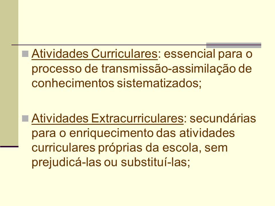 Atividades Curriculares: essencial para o processo de transmissão-assimilação de conhecimentos sistematizados;