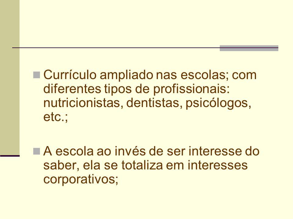 Currículo ampliado nas escolas; com diferentes tipos de profissionais: nutricionistas, dentistas, psicólogos, etc.;
