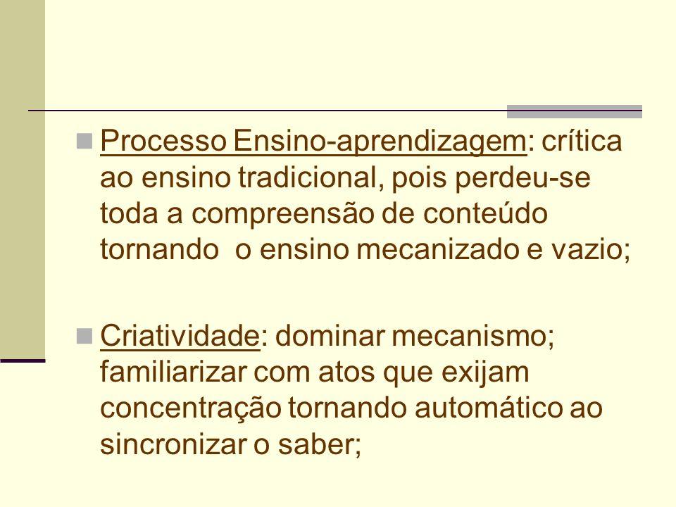 Processo Ensino-aprendizagem: crítica ao ensino tradicional, pois perdeu-se toda a compreensão de conteúdo tornando o ensino mecanizado e vazio;