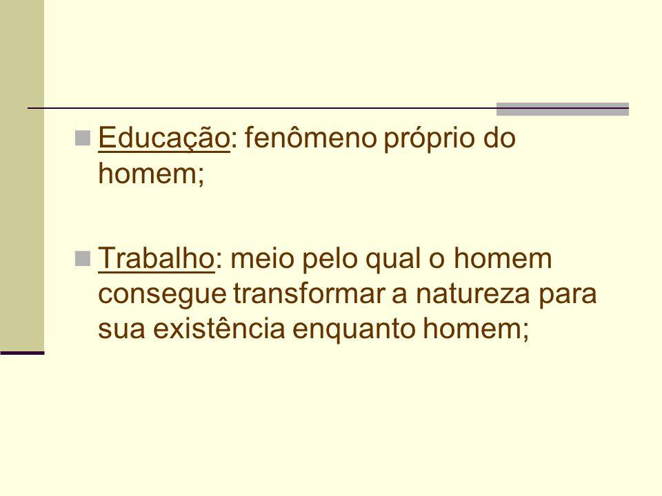 Educação: fenômeno próprio do homem;