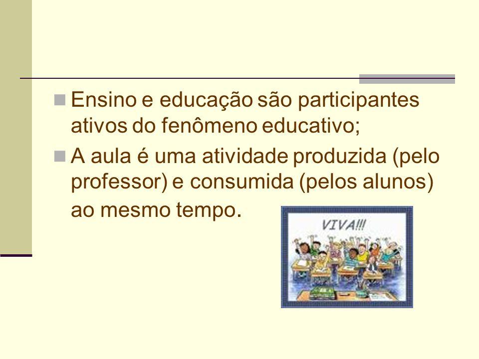 Ensino e educação são participantes ativos do fenômeno educativo;
