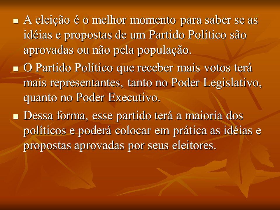 A eleição é o melhor momento para saber se as idéias e propostas de um Partido Político são aprovadas ou não pela população.