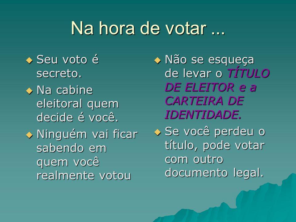 Na hora de votar ... Seu voto é secreto.