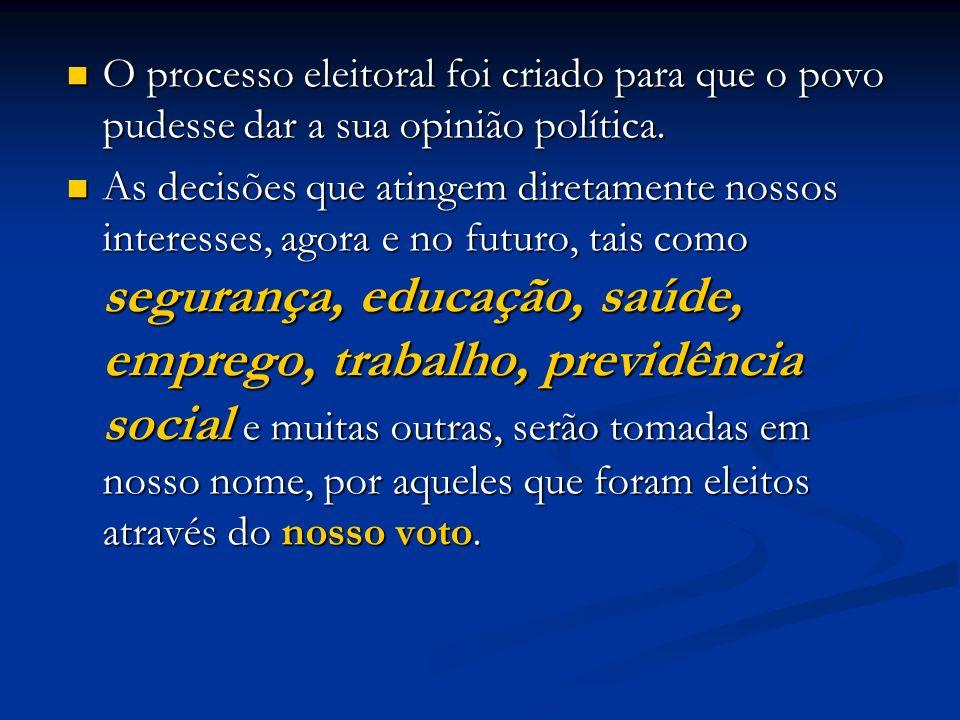 O processo eleitoral foi criado para que o povo pudesse dar a sua opinião política.