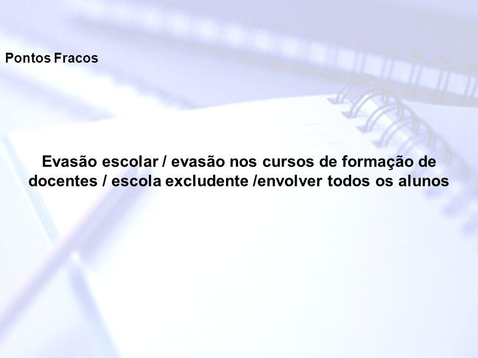 Pontos Fracos Evasão escolar / evasão nos cursos de formação de docentes / escola excludente /envolver todos os alunos.