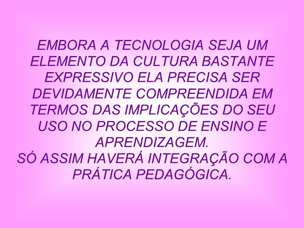 SÓ ASSIM HAVERÁ INTEGRAÇÃO COM A PRÁTICA PEDAGÓGICA.