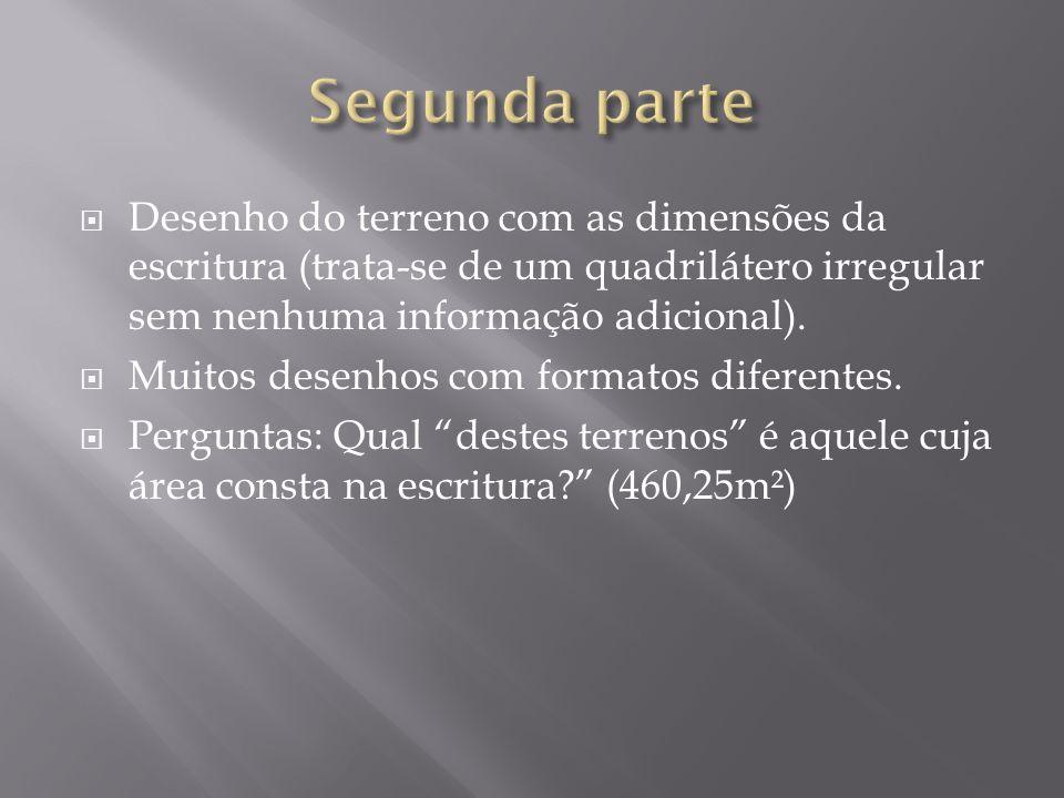 Segunda parte Desenho do terreno com as dimensões da escritura (trata-se de um quadrilátero irregular sem nenhuma informação adicional).