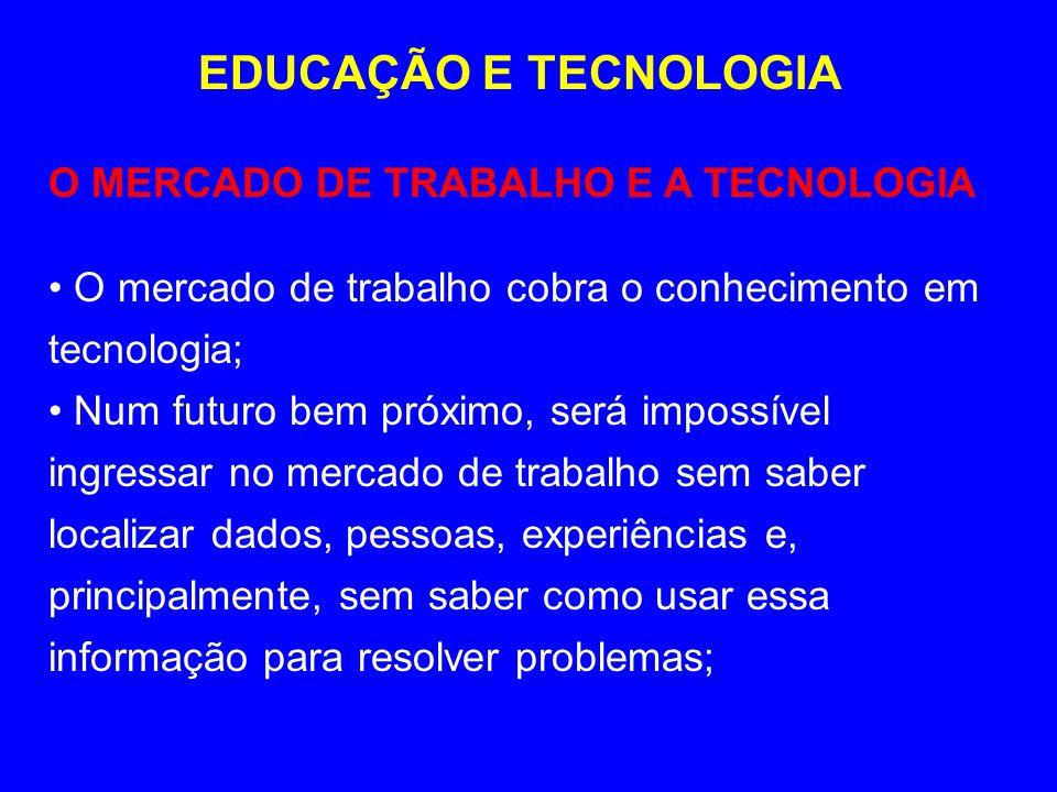 EDUCAÇÃO E TECNOLOGIA O MERCADO DE TRABALHO E A TECNOLOGIA