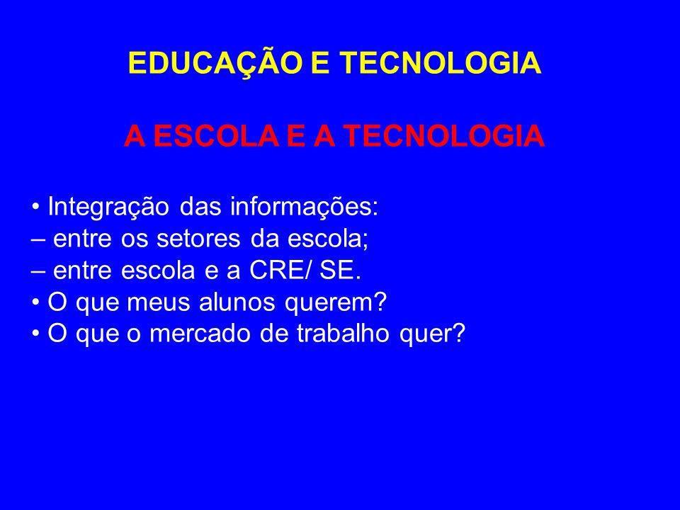 EDUCAÇÃO E TECNOLOGIA A ESCOLA E A TECNOLOGIA