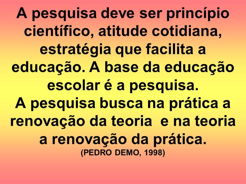A pesquisa deve ser princípio científico, atitude cotidiana, estratégia que facilita a educação.