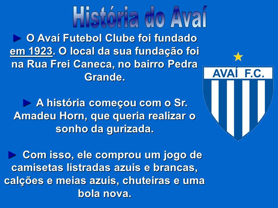 História do Avaí► O Avaí Futebol Clube foi fundado em 1923. O local da sua fundação foi na Rua Frei Caneca, no bairro Pedra Grande.