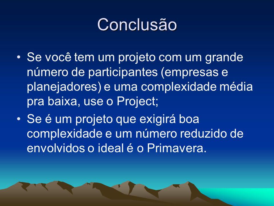Conclusão Se você tem um projeto com um grande número de participantes (empresas e planejadores) e uma complexidade média pra baixa, use o Project;