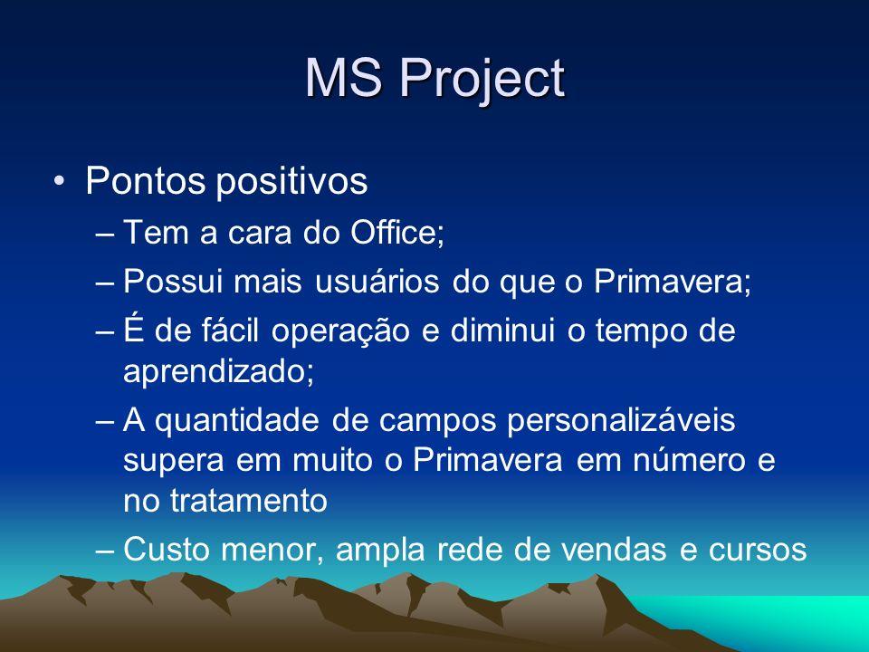 MS Project Pontos positivos Tem a cara do Office;