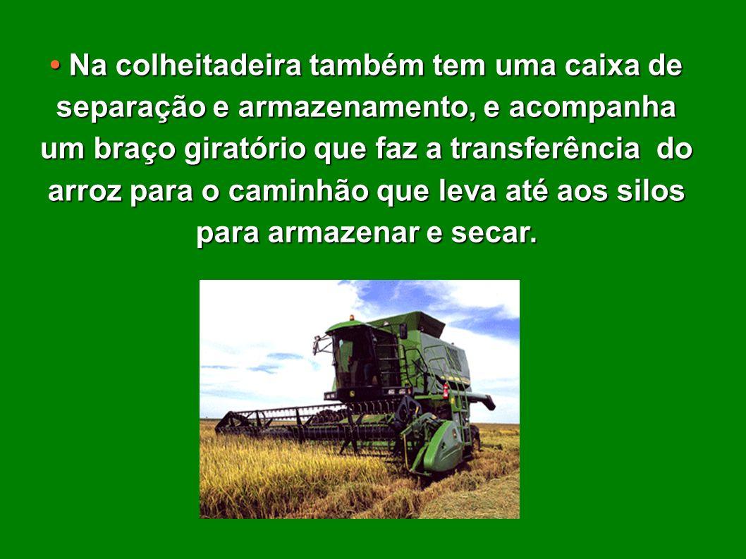 • Na colheitadeira também tem uma caixa de separação e armazenamento, e acompanha um braço giratório que faz a transferência do arroz para o caminhão que leva até aos silos para armazenar e secar.