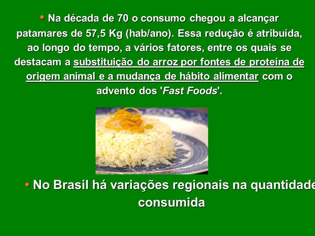• No Brasil há variações regionais na quantidade consumida