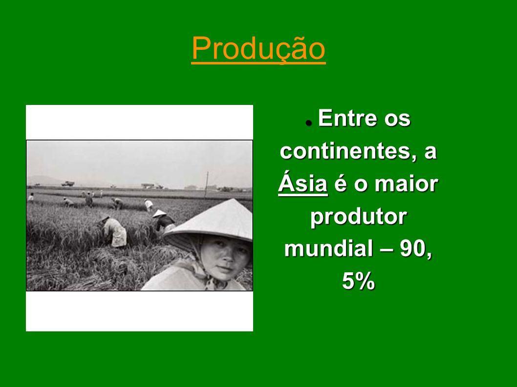 Entre os continentes, a Ásia é o maior produtor mundial – 90, 5%