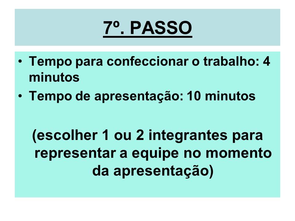7º. PASSO Tempo para confeccionar o trabalho: 4 minutos. Tempo de apresentação: 10 minutos.