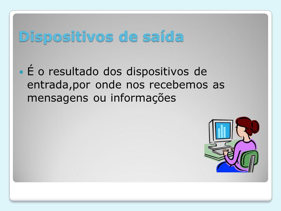 Dispositivos de saída É o resultado dos dispositivos de entrada,por onde nos recebemos as mensagens ou informações.