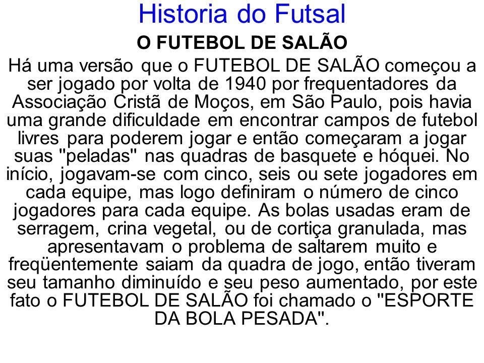 Historia do Futsal O FUTEBOL DE SALÃO