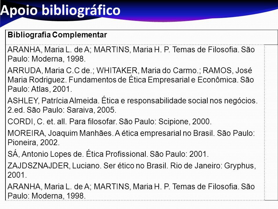 Apoio bibliográfico Bibliografia Complementar. ARANHA, Maria L. de A; MARTINS, Maria H. P. Temas de Filosofia. São Paulo: Moderna, 1998.