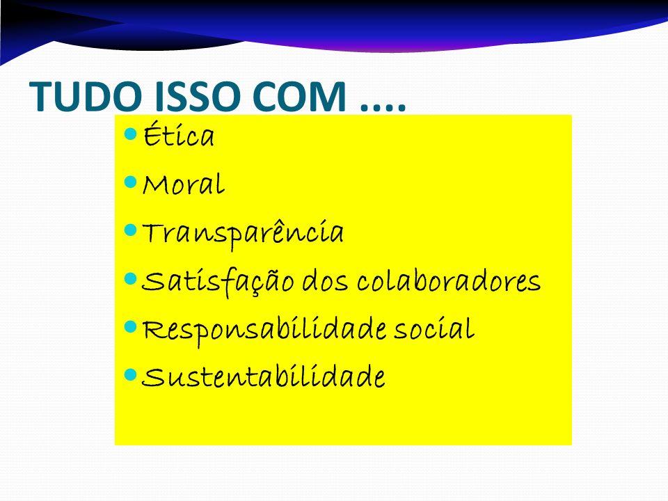 TUDO ISSO COM .... Ética Moral Transparência