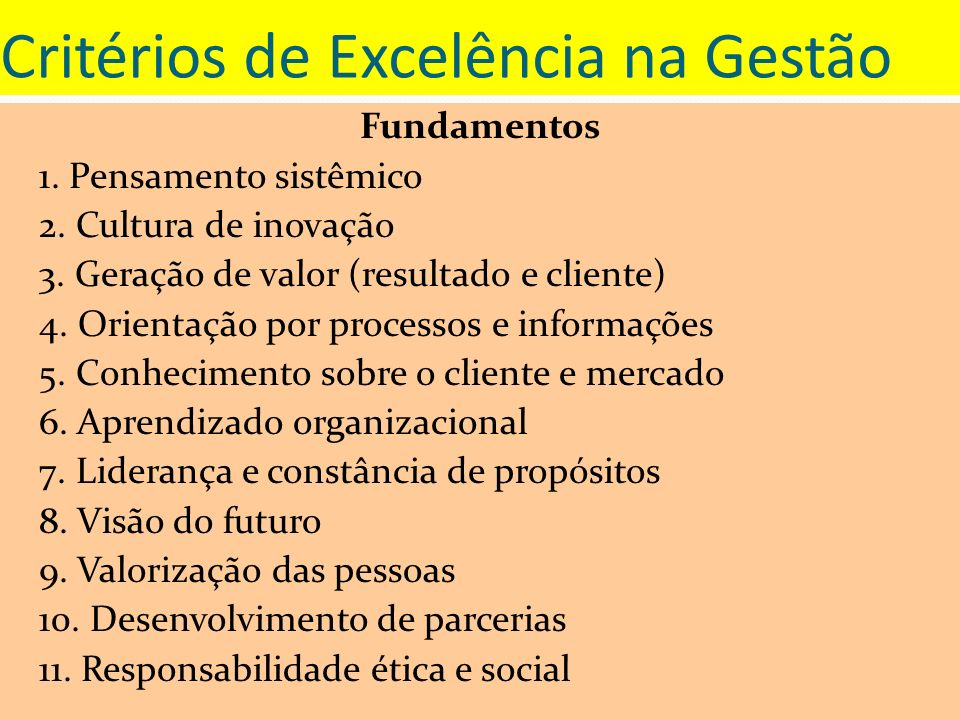 Critérios de Excelência na Gestão