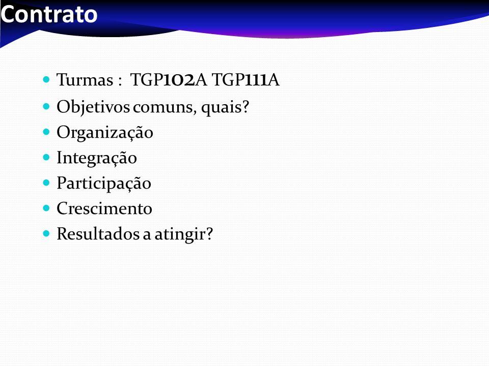 Contrato Turmas : TGP102A TGP111A Objetivos comuns, quais Organização