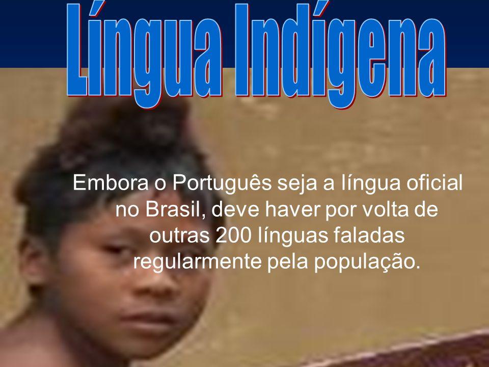 Língua Indígena Embora o Português seja a língua oficial no Brasil, deve haver por volta de outras 200 línguas faladas regularmente pela população.