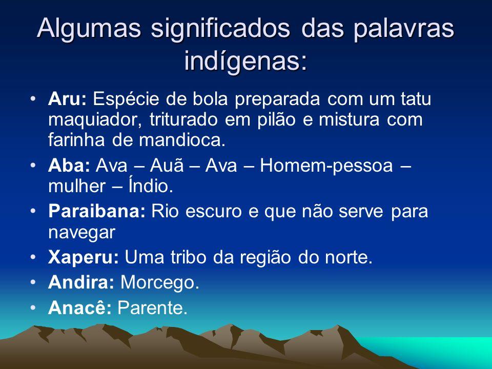 Algumas significados das palavras indígenas: