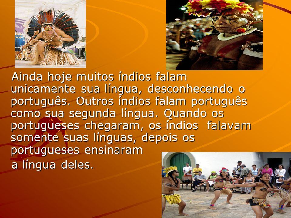 Ainda hoje muitos índios falam unicamente sua língua, desconhecendo o português. Outros índios falam português como sua segunda língua. Quando os portugueses chegaram, os índios falavam somente suas línguas, depois os portugueses ensinaram