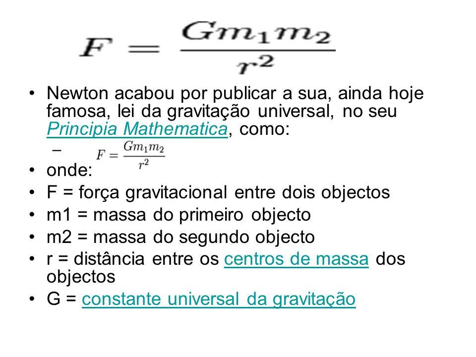 Newton acabou por publicar a sua, ainda hoje famosa, lei da gravitação universal, no seu Principia Mathematica, como: