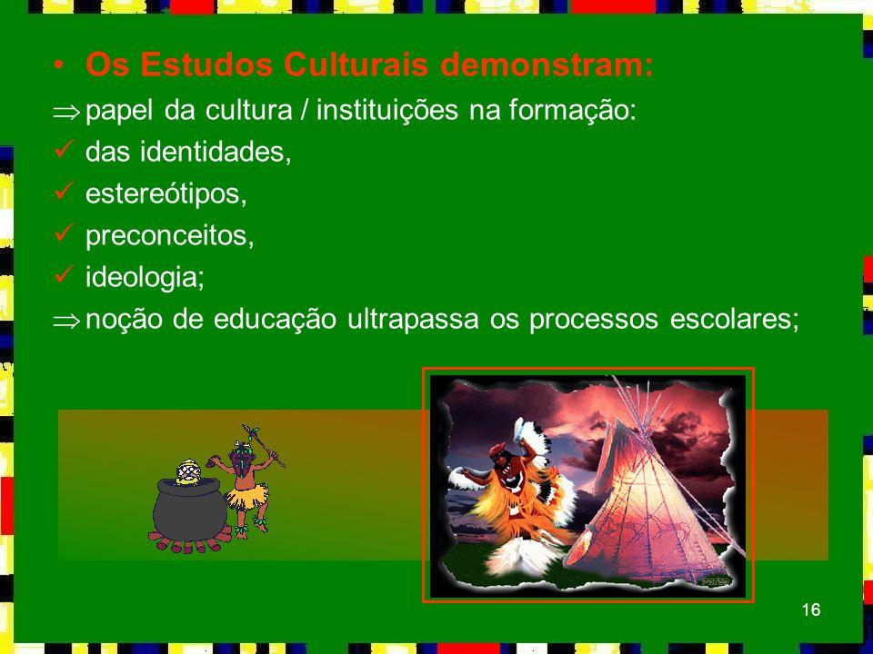 Os Estudos Culturais demonstram: