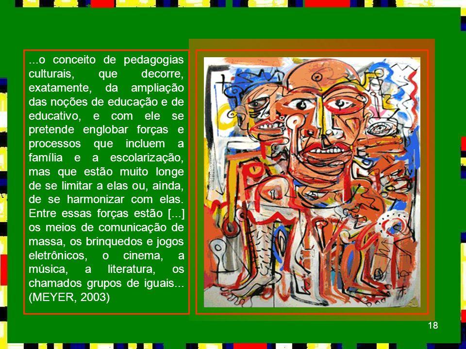 ...o conceito de pedagogias culturais, que decorre, exatamente, da ampliação das noções de educação e de educativo, e com ele se pretende englobar forças e processos que incluem a família e a escolarização, mas que estão muito longe de se limitar a elas ou, ainda, de se harmonizar com elas.