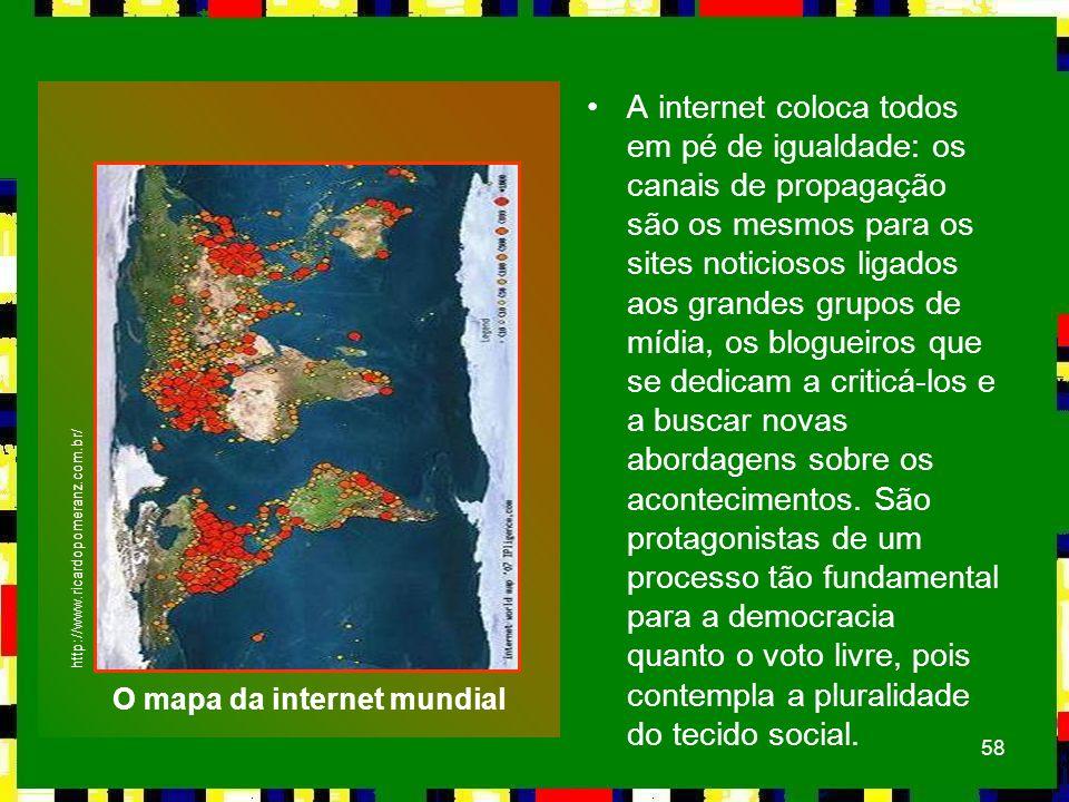 O mapa da internet mundial